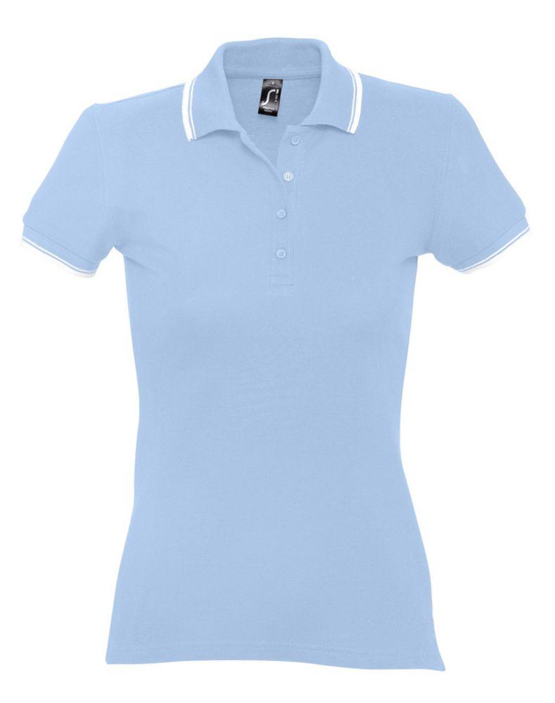Рубашка поло женская Practice women 270, голубой/белый, размер XXL блузка женская oodji ultra цвет белый голубой 13k03005 1 46440 1070o размер 36 42 170