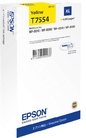 Фото - Картридж повышенной емкости с желтыми чернилами Epson T7554 для WF-8090, 8590 (C13T755440) картридж с желтыми чернилами epson t0824 c13t11244a10