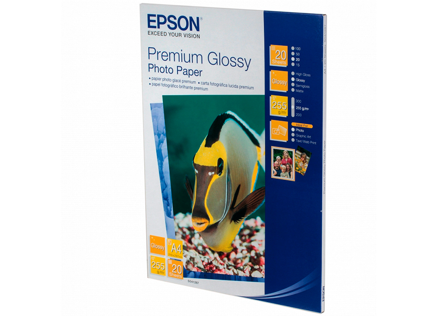 Epson Premium Glossy Photo Paper A4, 255 г/м2, 20 листов (C13S041287) шина continental contisportcontact 6 255 35 r19 96y