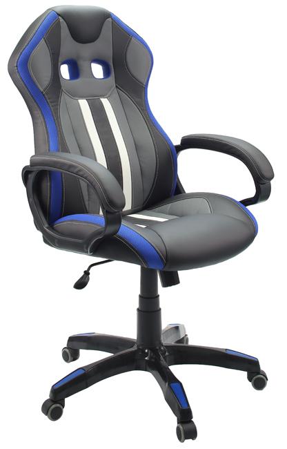 Кресло для геймеров Гелеос Мустанг, синее