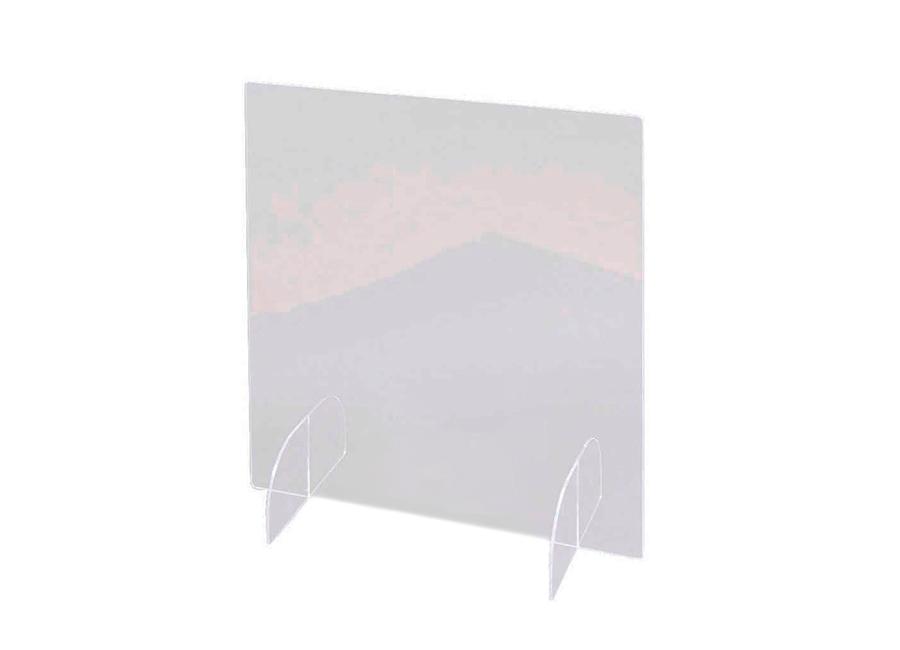 Прямой односекционный настольный защитный экран с подставками, акрил, 60x81 см, 3 мм