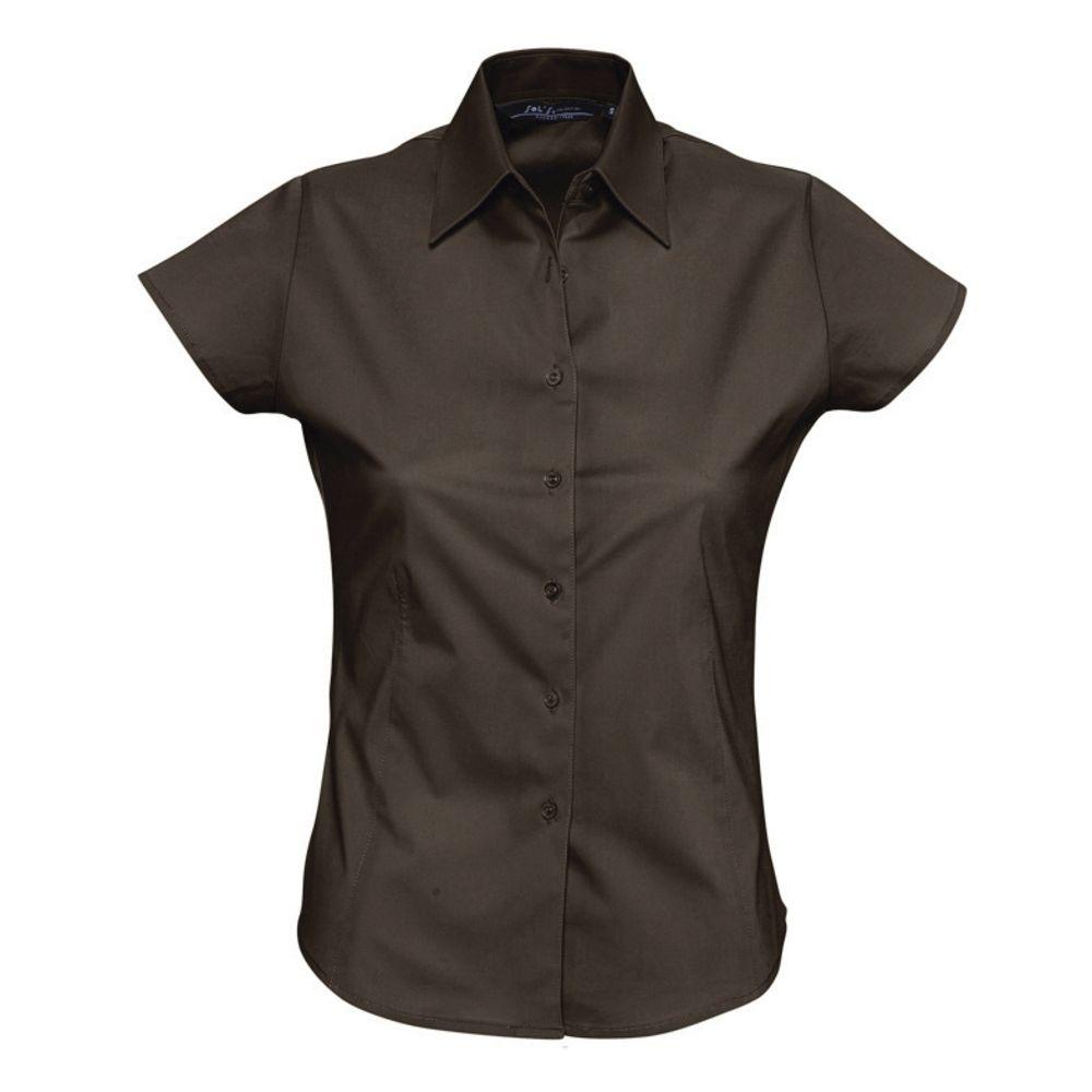 Фото - Рубашка женская с коротким рукавом EXCESS темно-коричневая, размер L рубашка женская с коротким рукавом excess темно коричневая размер l