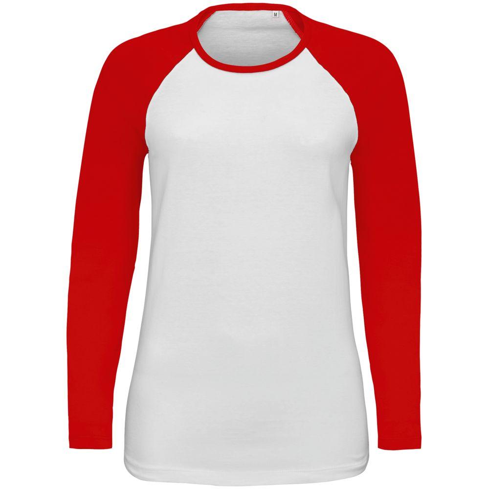 Футболка женская с длинным рукавом MILKY LSL белая с красным, размер M туника odeks style туники с длинным рукавом