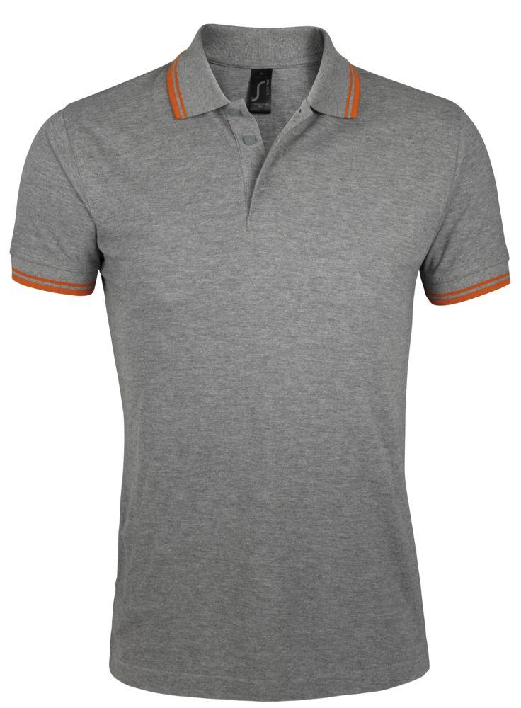 Рубашка поло мужская PASADENA MEN 200 с контрастной отделкой серый меланж/оранжевый, размер 3XL фото