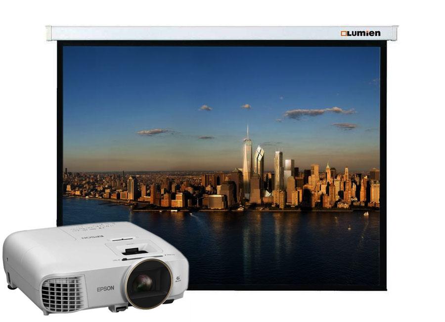 Фото - Презентационный комплект: проектор Epson EH-TW5650 + проекционный экран Lumien Master Picture 154x240 MW FiberGlass проектор epson eh tw7400 white
