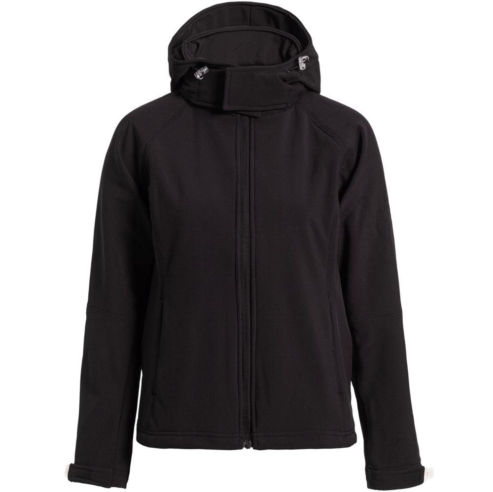 Куртка женская Hooded Softshell черная, размер S