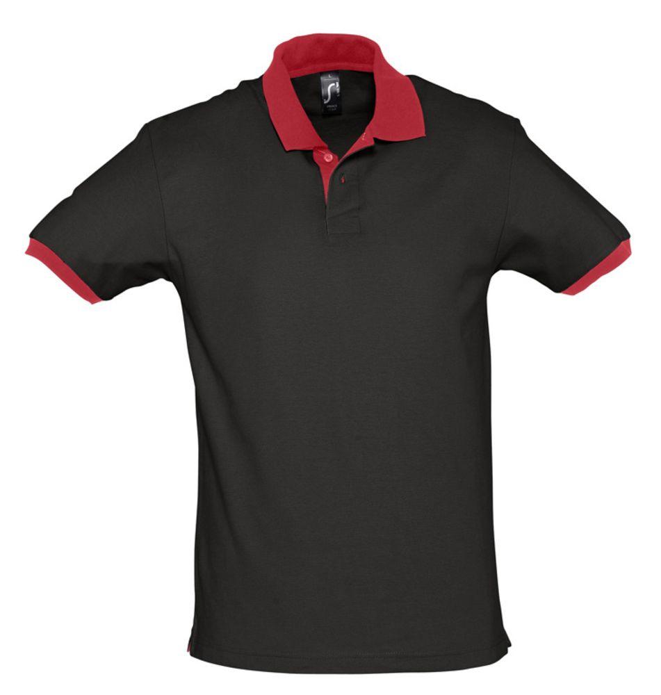 Рубашка поло Prince 190 черная с красным, размер XXL фото