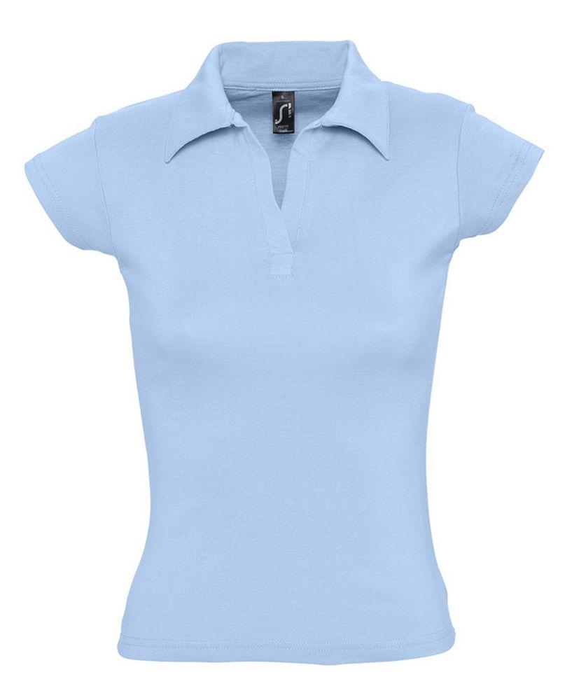 Рубашка поло женская без пуговиц PRETTY 220 голубая, размер L фото