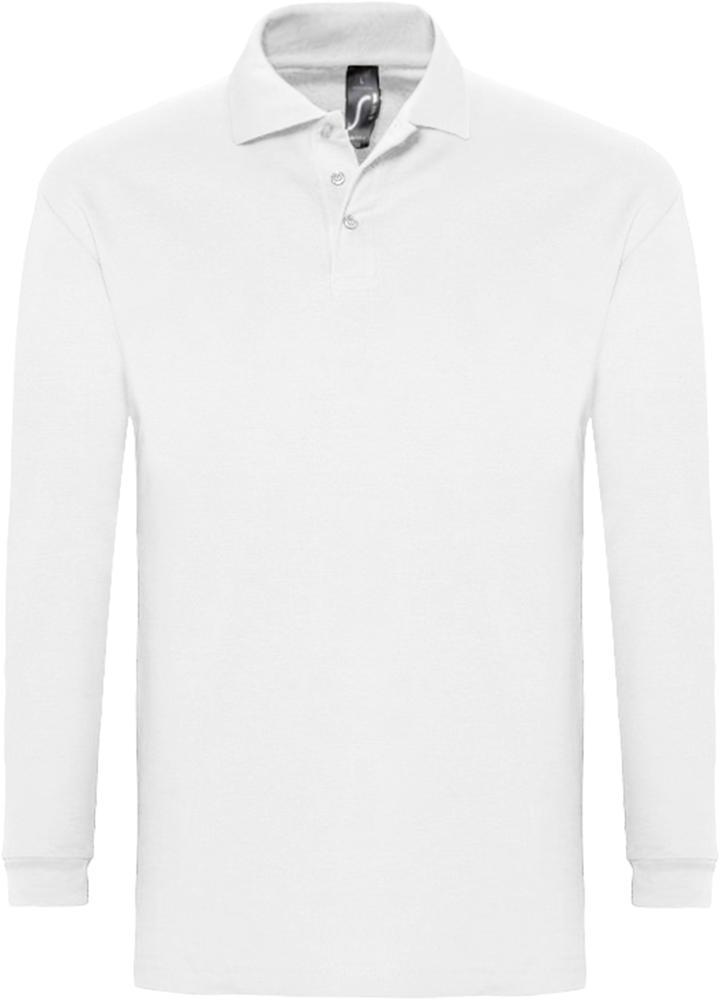 Рубашка поло мужская с длинным рукавом WINTER II 210 белая, размер S