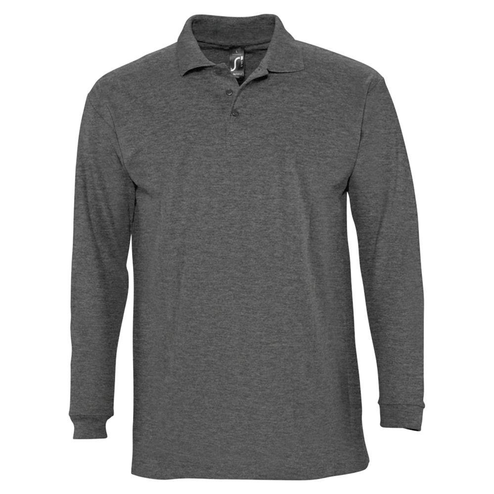 Рубашка поло мужская с длинным рукавом WINTER II 210 черный меланж, размер XL фото
