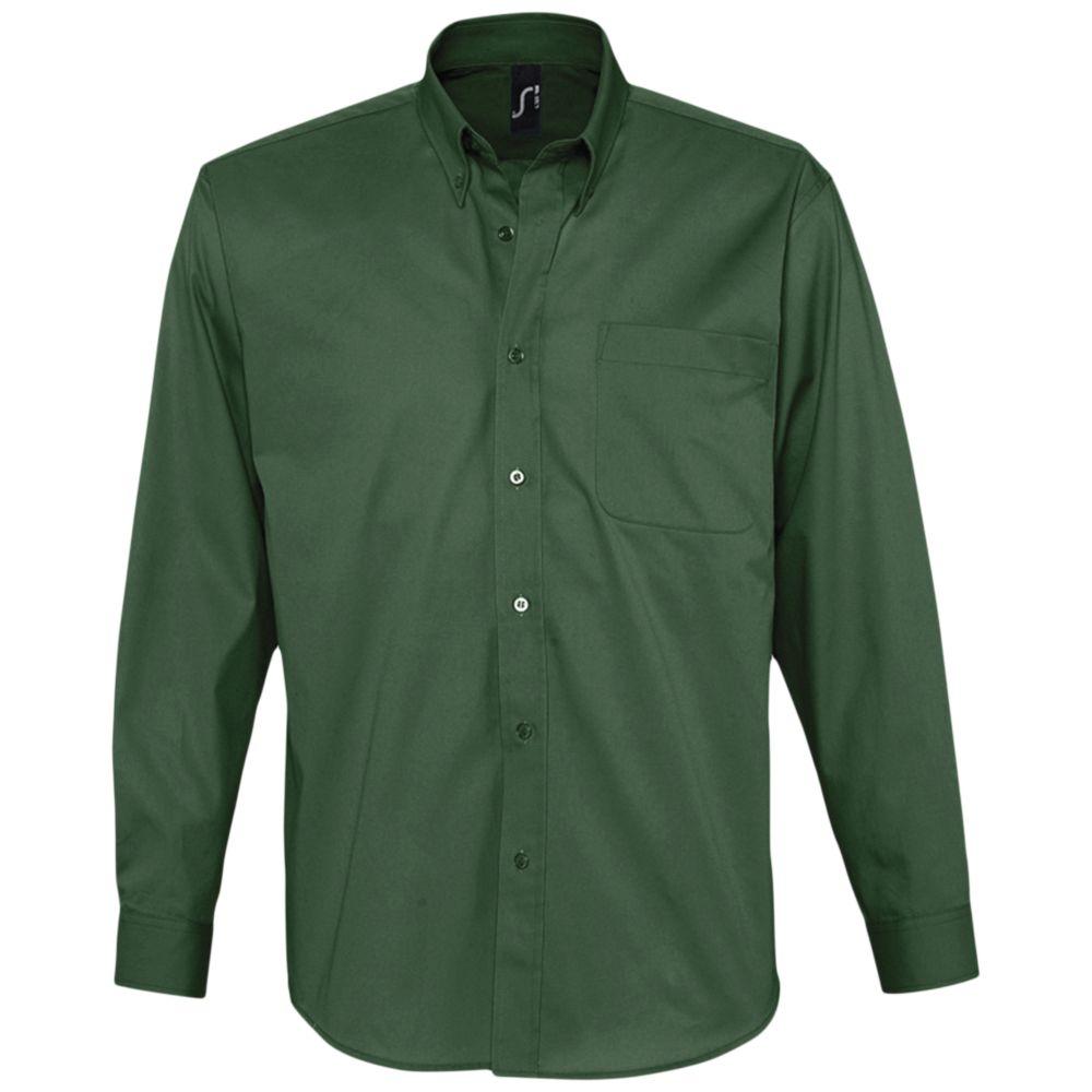 Рубашка мужская с длинным рукавом BEL AIR темно-зеленая, размер 4XL