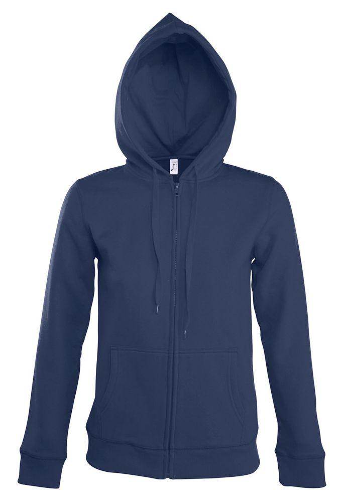 Толстовка женская на молнии с капюшоном Seven Women, темно-синяя, размер XL куртка тренировочная женская на молнии sst tt синяя размер xl