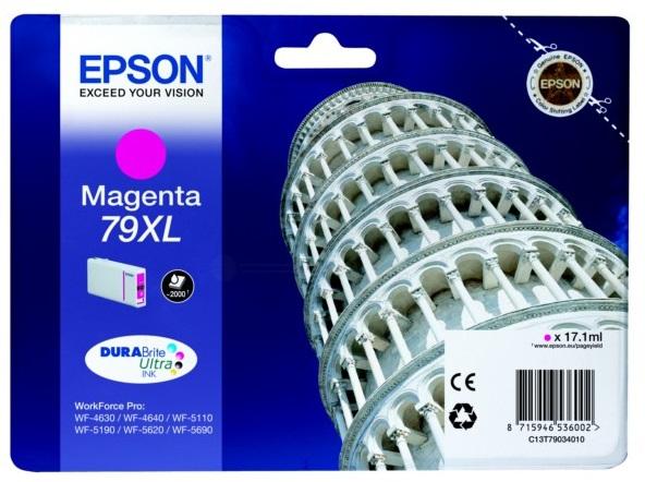 Картридж повышенной емкости с пурпурными чернилами T7903 для WF-5110DW, WF-5620DWF (C13T79034010) картридж повышенной емкости с черными чернилами t7551 для wf 8090 8590 c13t755140