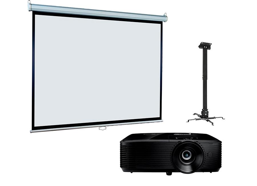 Экран ViewScreen Scroll 180x180 MW в комплекте с проектором Optoma X371 и креплением Fix P300L