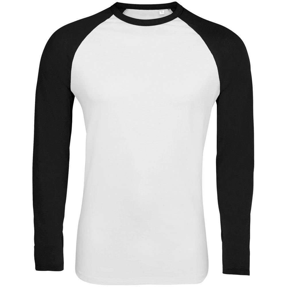 Футболка мужская с длинным рукавом FUNKY LSL белая с черным, размер XL