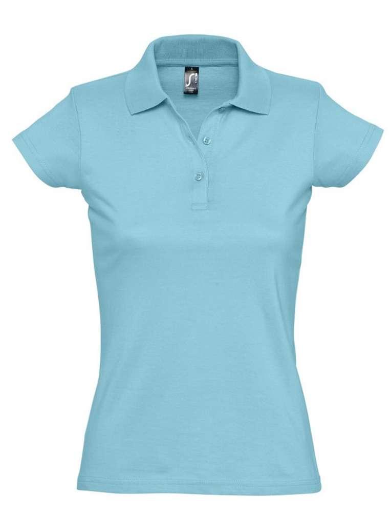 Рубашка поло женская Prescott women 170 бирюзовая, размер S футболка женская с оригинальным v обр вырезом mint 170 бирюзовая размер s