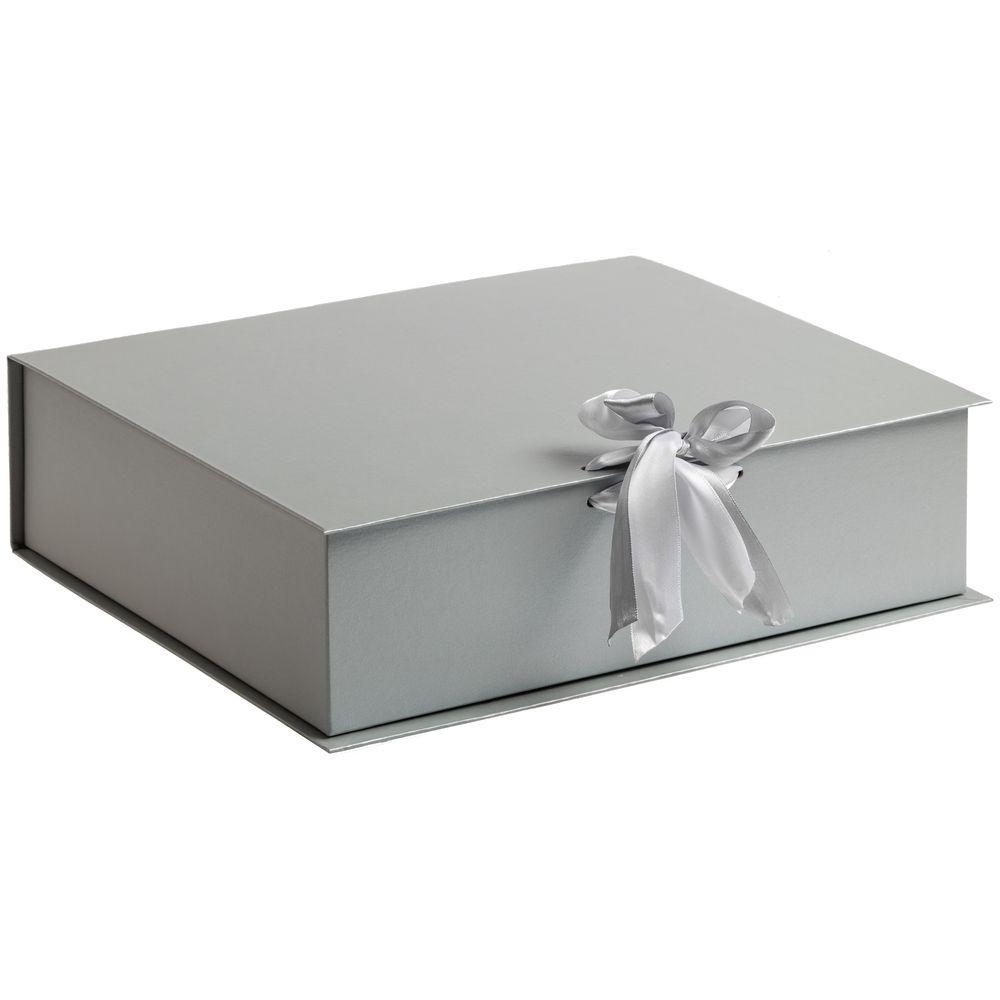 Коробка на лентах Tie Up, серебристая
