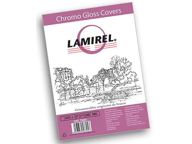 Обложка картонная Lamirel Chromolux, Глянец, A4, 230 г/м2, красный, 100 шт обложки для переплета brauberg а4 230 г м2 100 шт желтый
