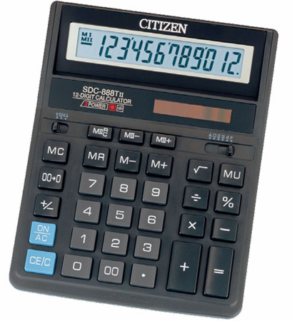 Калькулятор Citizen SDC-888TII 27х159х205мм, 12разр., черный калькулятор citizen sdc 395n sdc 395 n