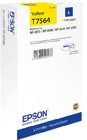 Фото - Картридж с желтыми чернилами Epson T7564 для WF-8090, 8590 (C13T756440) картридж с желтыми чернилами epson t0824 c13t11244a10