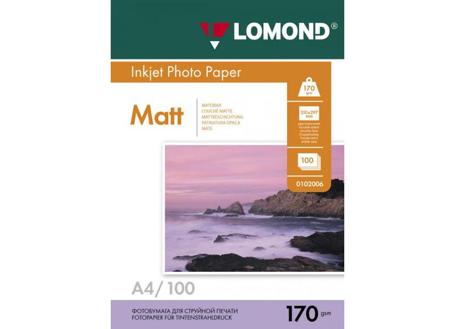 Фото - Lomond для струйной печати, A4, 170 г/м2, 100 листов, двусторонняя, матовая/матовая (0102006) lomond для струйной печати a2 100 г м2 25 листов двусторонняя матовая матовая 0102137