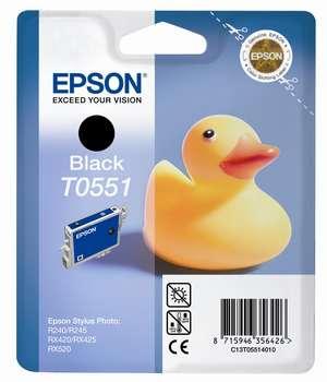 Фото - Картридж с черными чернилами Epson T0551 для RX520/R240 (C13T05514010) картридж с черными фото чернилами epson t0541 c13t05414010