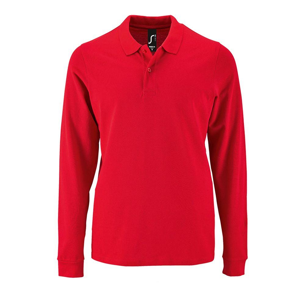 Рубашка поло мужская с длинным рукавом PERFECT LSL MEN красная, размер S