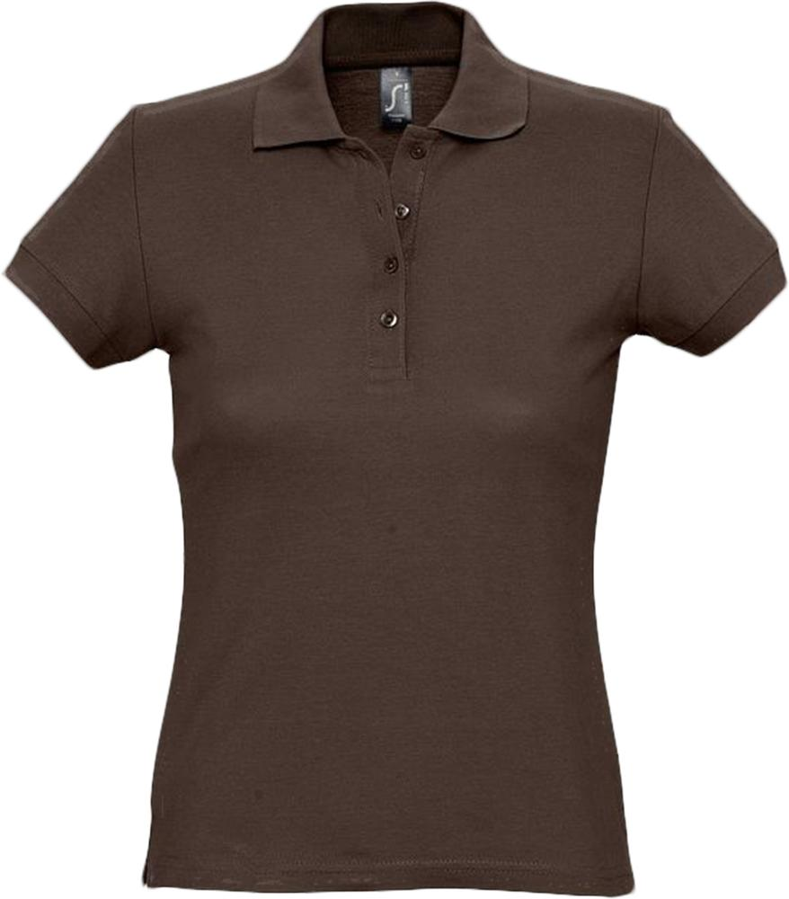 цена Рубашка поло женская PASSION 170 шоколадно-коричневая, размер XL онлайн в 2017 году