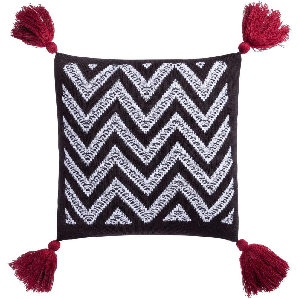 Подушка Levin, черно-белая с красными кистями