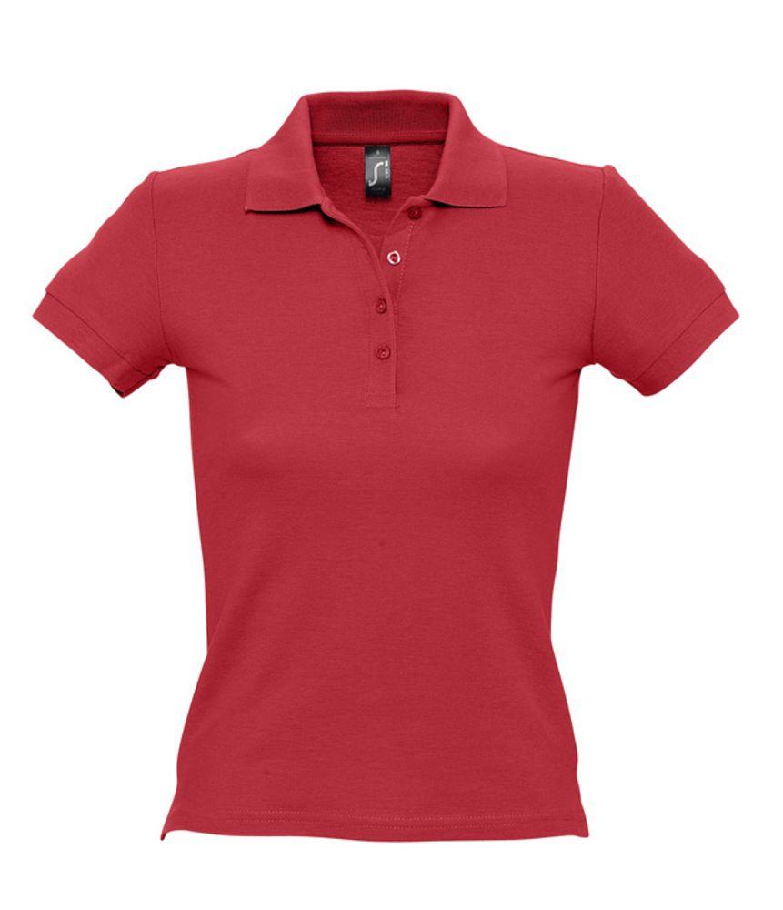 Рубашка поло женская PEOPLE 210 красная, размер L фото
