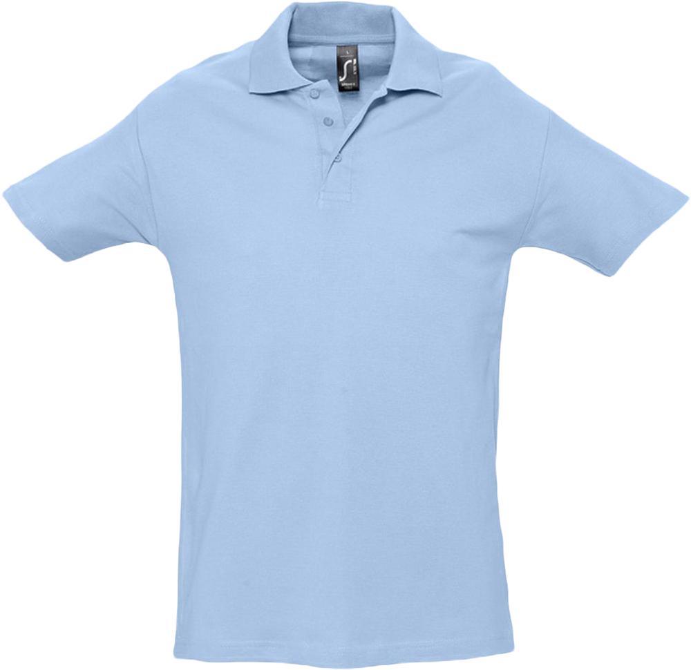 Рубашка поло мужская SPRING 210 голубая, размер S
