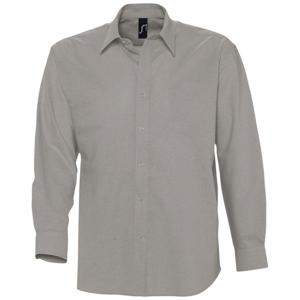 Рубашка мужская с длинным рукавом BOSTON серая, размер 4XL