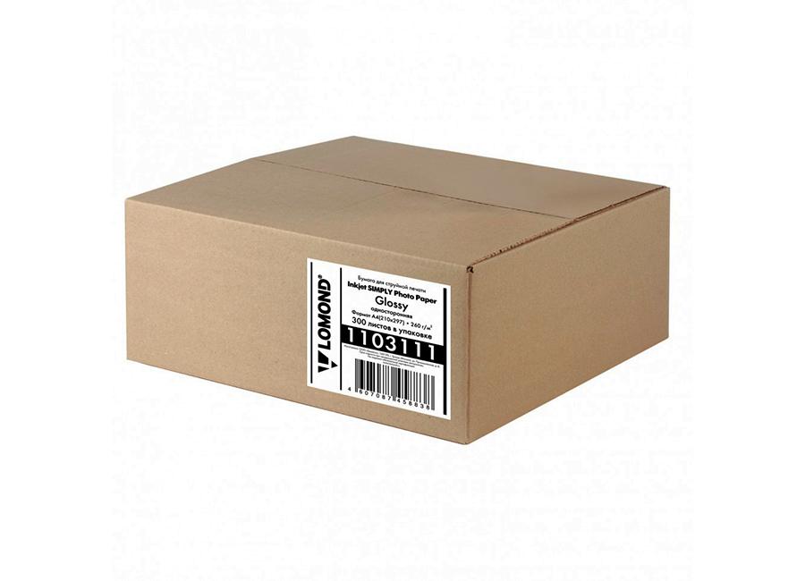 Фото - Lomond InkJet Simply Photo Paper Glossy для струйной печати A4, 260 г/м2, 300 листов (1103111) бизнес тетрадь attache selection амели a4 80 листов yellow 487293