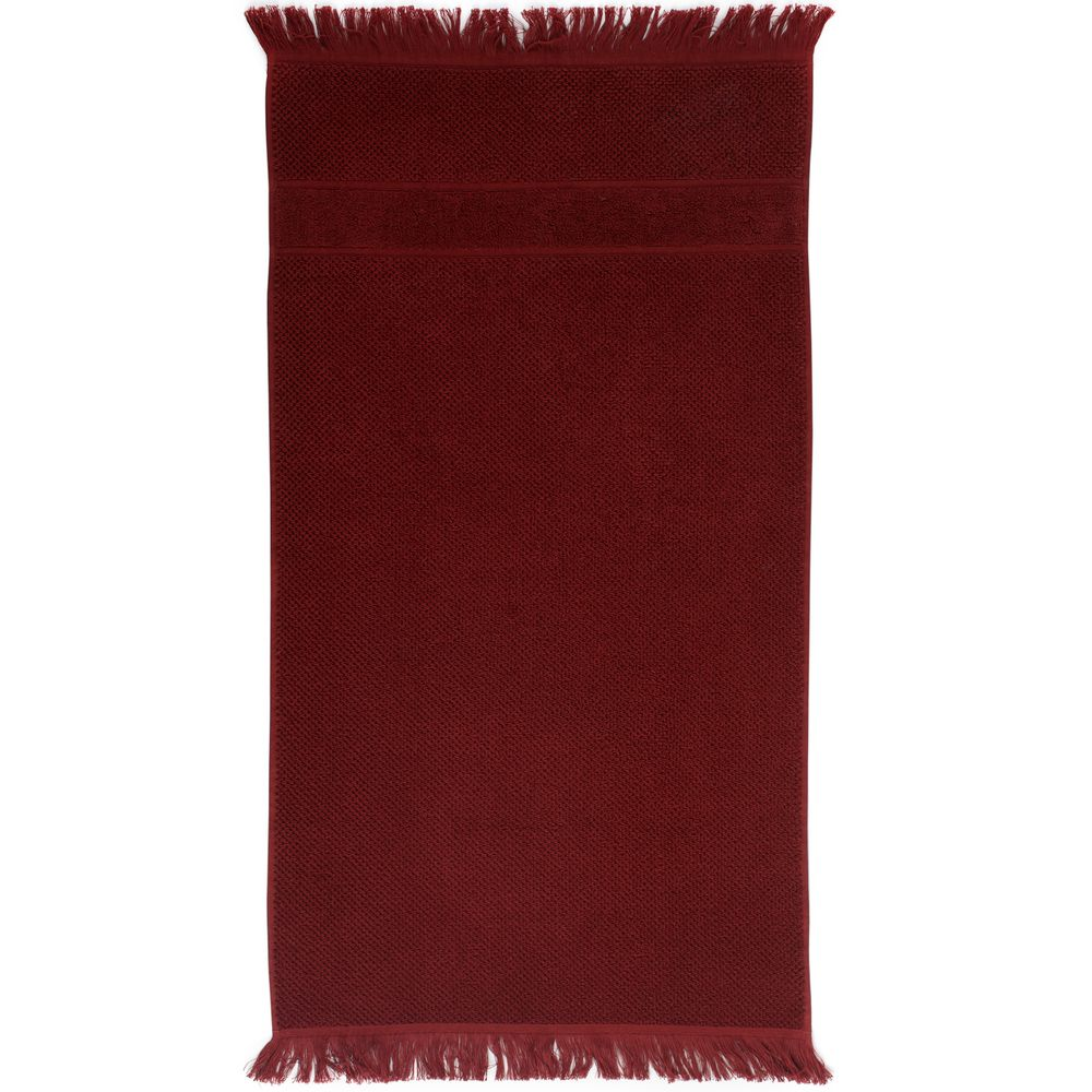 Полотенце Essential с бахромой, бордовое