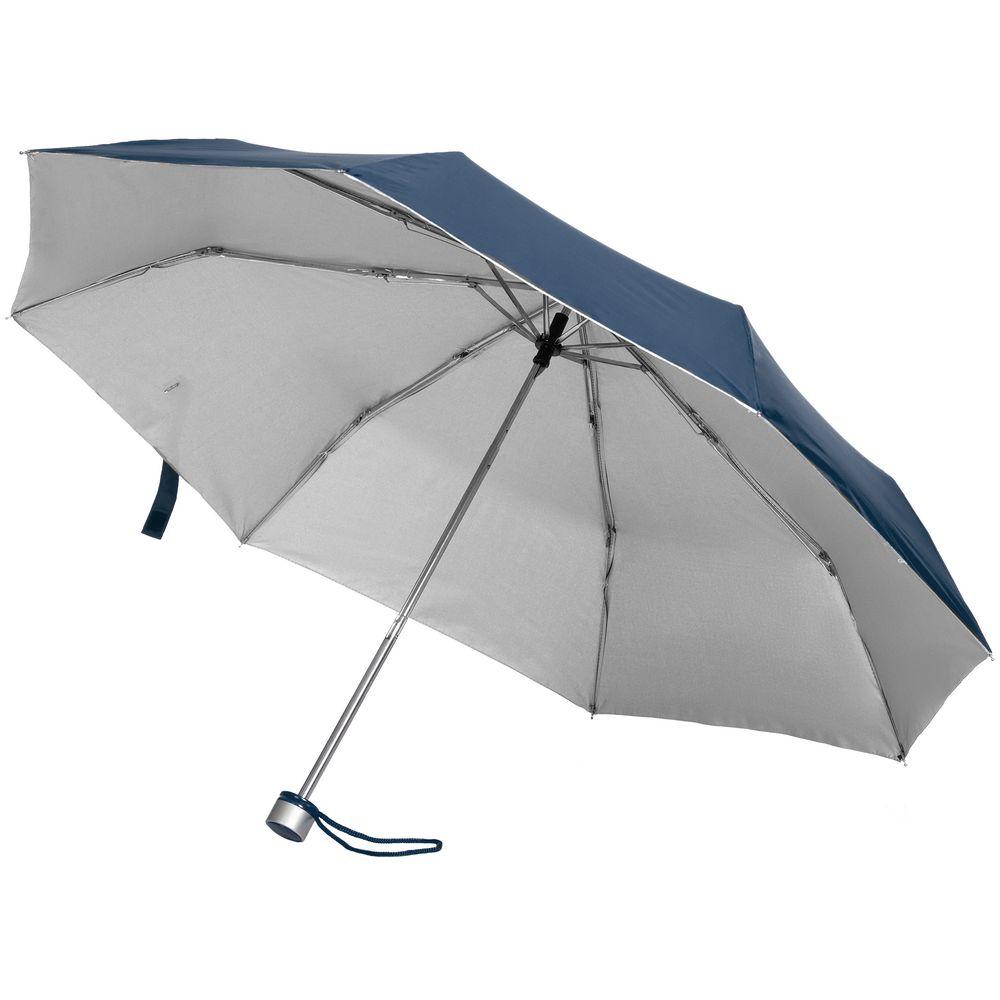 Зонт складной Silverlake, синий с серебристым зонт складной zemsa zemsa mp002xw13drd