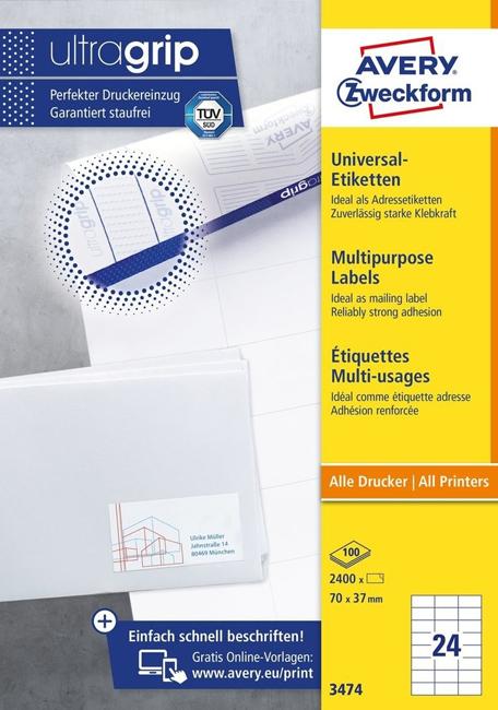 Универсальные самоклеящиеся этикетки , 100 листов, 3474 бумажные этикетки zebra 3006320 z select 2000t 102x76мм