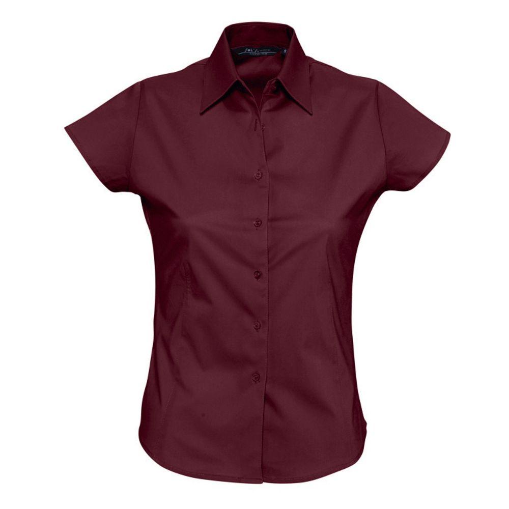 Фото - Рубашка женская с коротким рукавом EXCESS бордовая, размер L рубашка женская с коротким рукавом excess темно коричневая размер l
