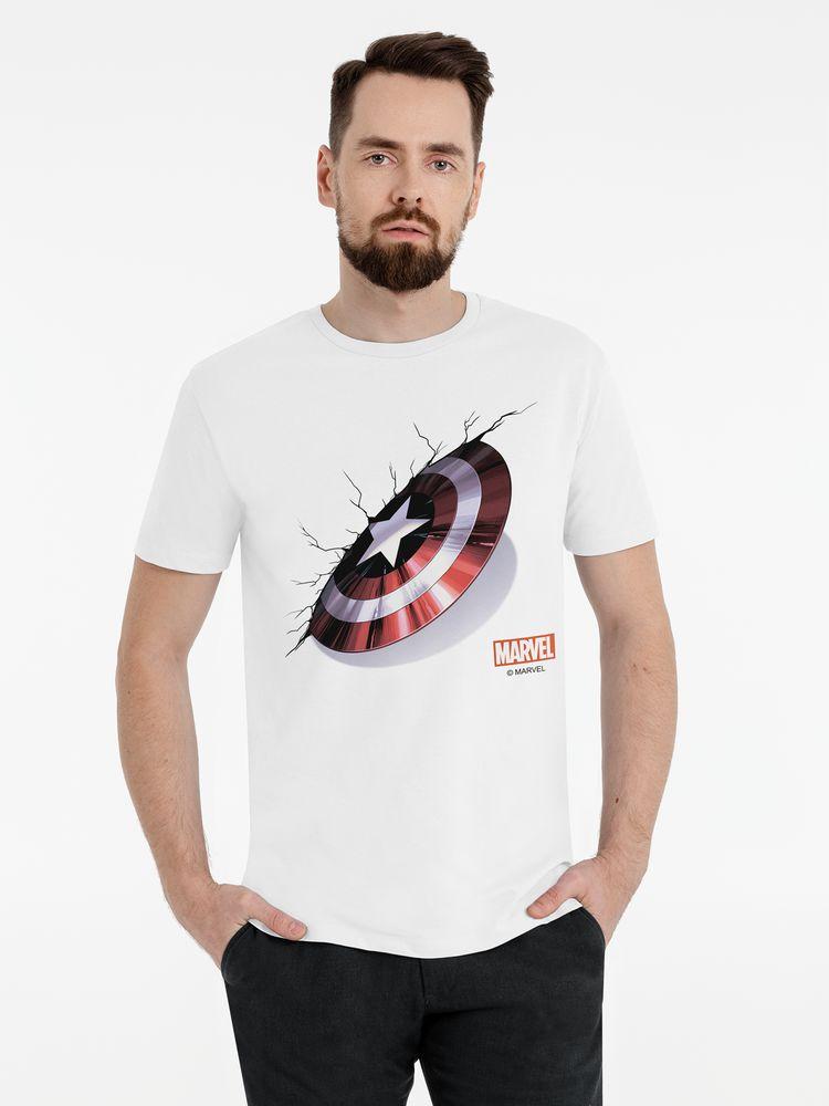 Футболка «Щит Капитана Америки», белая, размер XXL