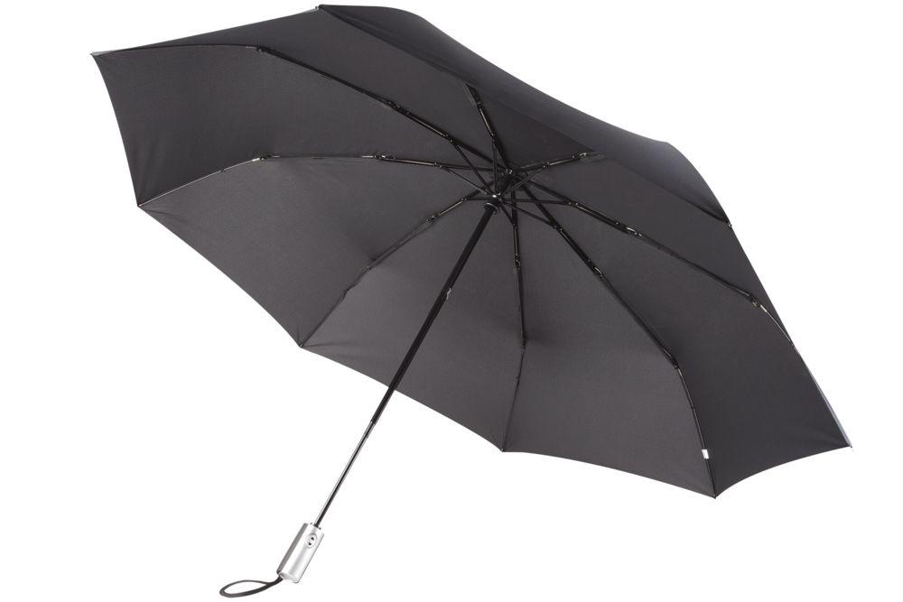 Зонт складной Unit Fiber, черный зонт складной zemsa zemsa mp002xw13drd