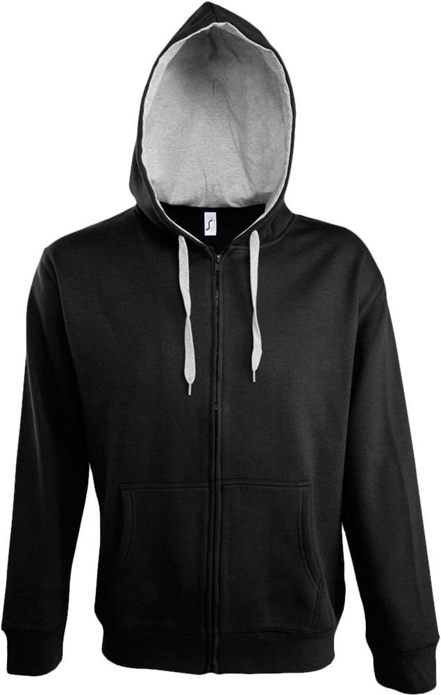 Толстовка мужская Soul men 290 с контрастным капюшоном черная, размер XXL