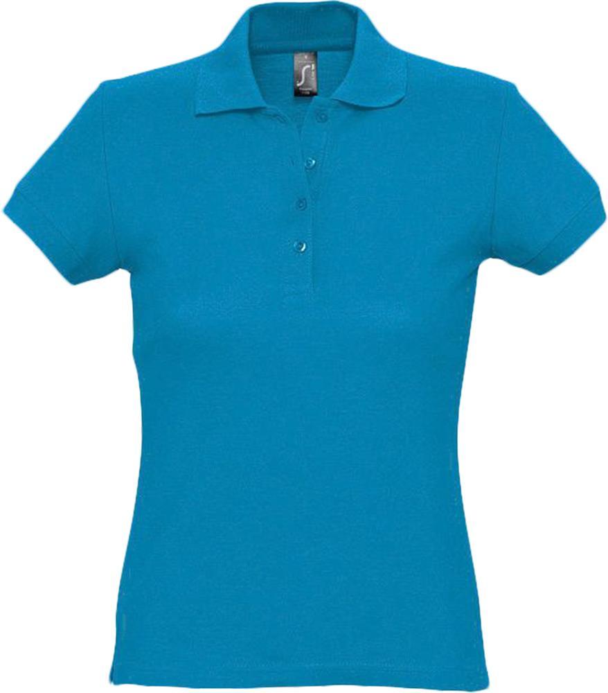 Рубашка поло женская PASSION 170 ярко-бирюзовая, размер S футболка женская с оригинальным v обр вырезом mint 170 бирюзовая размер s