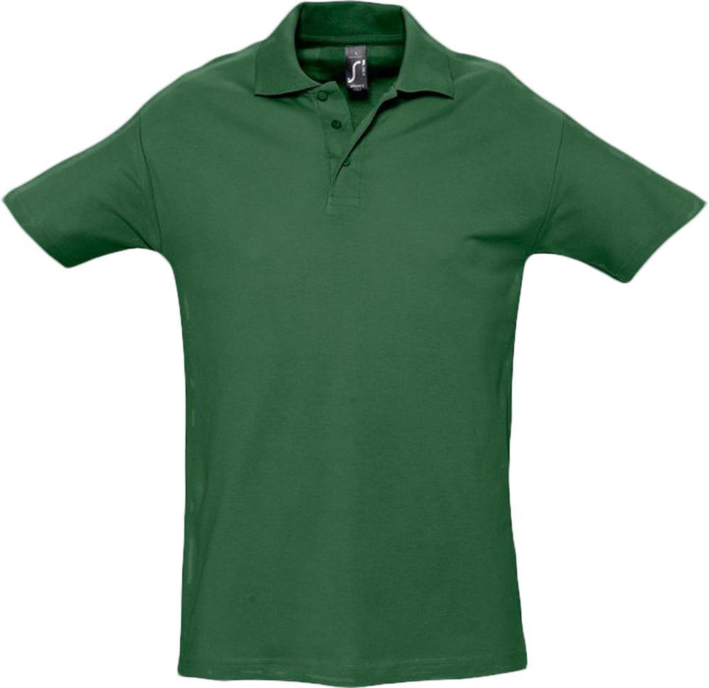 Рубашка поло мужская SPRING 210 темно-зеленая, размер S