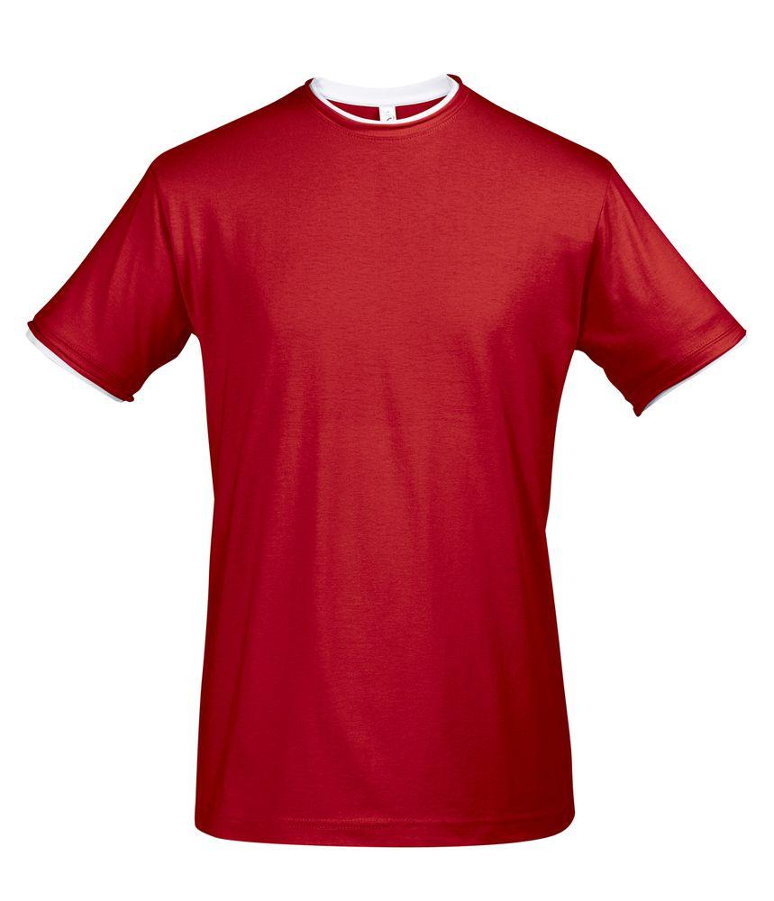 Футболка мужская с контрастной отделкой MADISON 170, красный/белый, размер XXL футболка мужская diesel цвет белый 00spvz 0caky 100 размер xxl 54