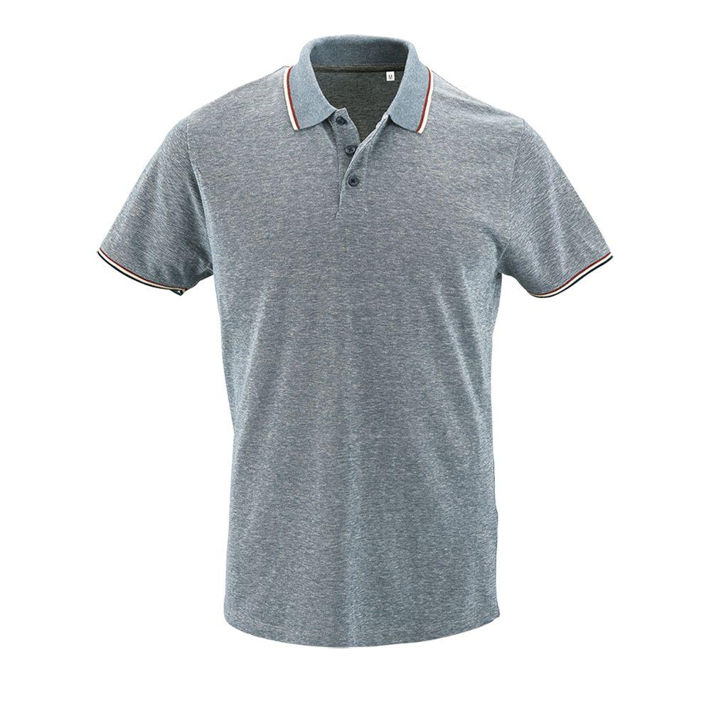 Рубашка поло мужская PANAME MEN голубой меланж, размер S фото