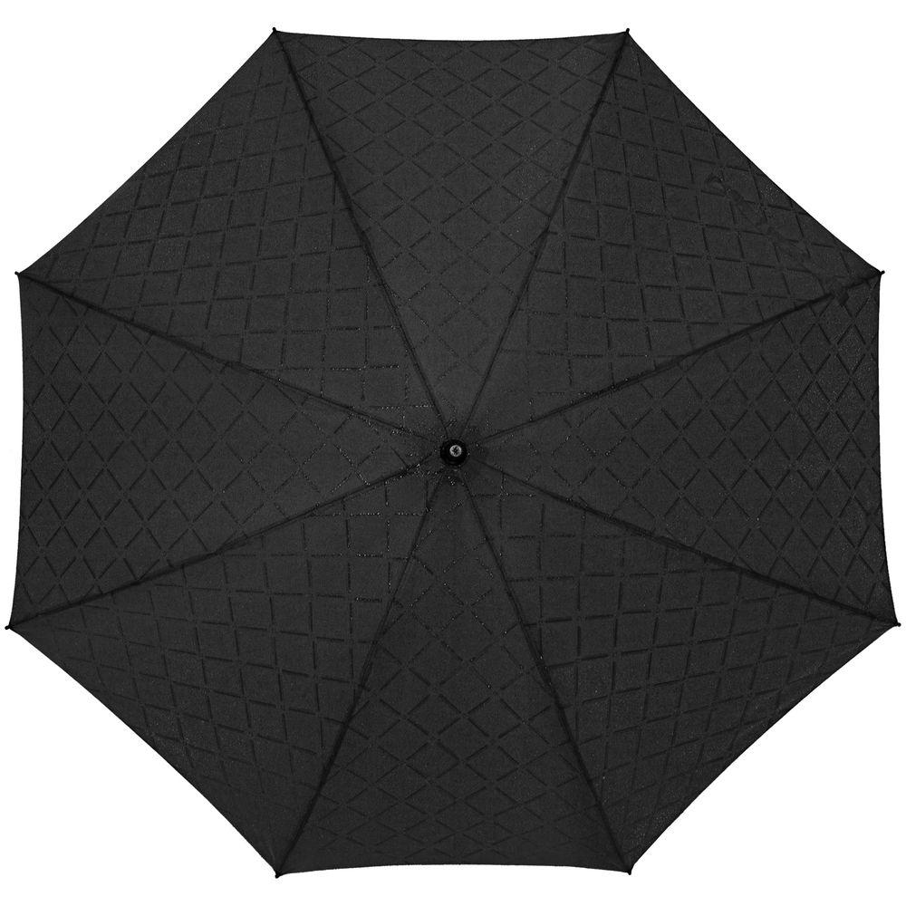 Зонт-трость Magic с проявляющимся рисунком в клетку, черный фото