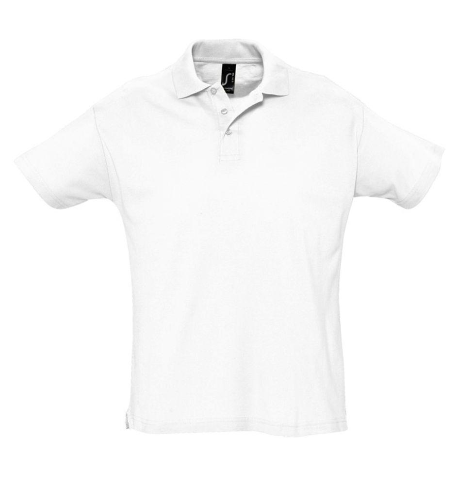 Рубашка поло мужская SUMMER 170 белая, размер XS