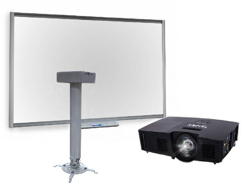 Фото - Интерактивная доска SMART Board SBМ685 с ключом активации SMART NOTEBOOK, с мультимедийным проектором SMART V12 и креплением Digis DSM-14Kw 300 smart