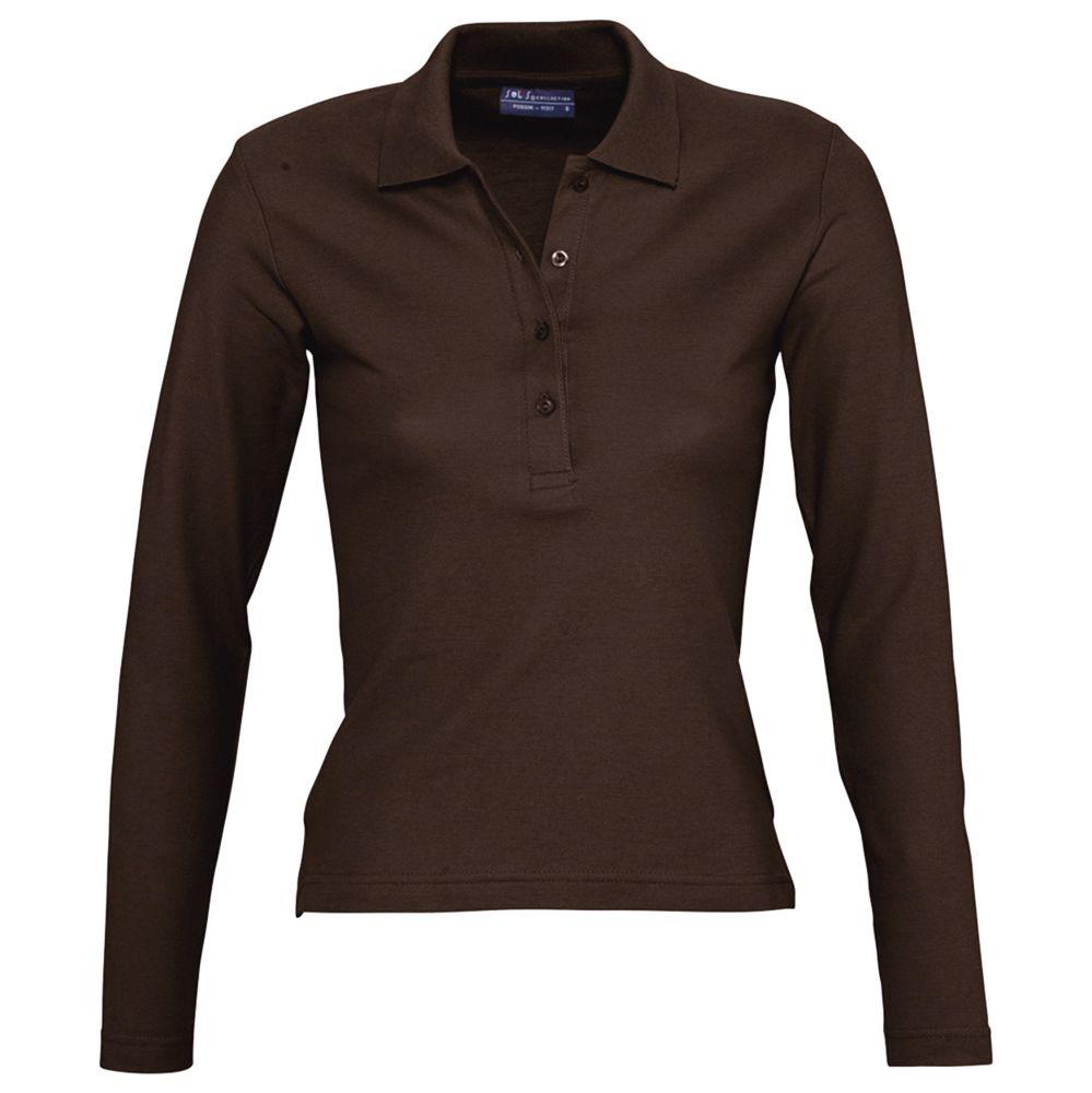 Фото - Рубашка поло женская с длинным рукавом PODIUM 210 шоколадно-коричневая, размер L рубашка женская с коротким рукавом excess темно коричневая размер l
