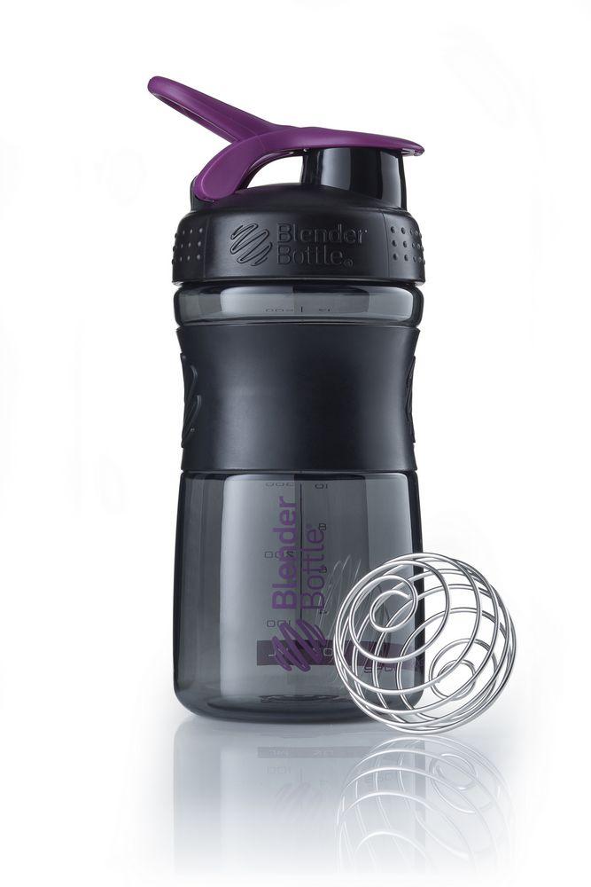 Спортивный шейкер SportMixer, черный с фиолетовым (сливовым) фото