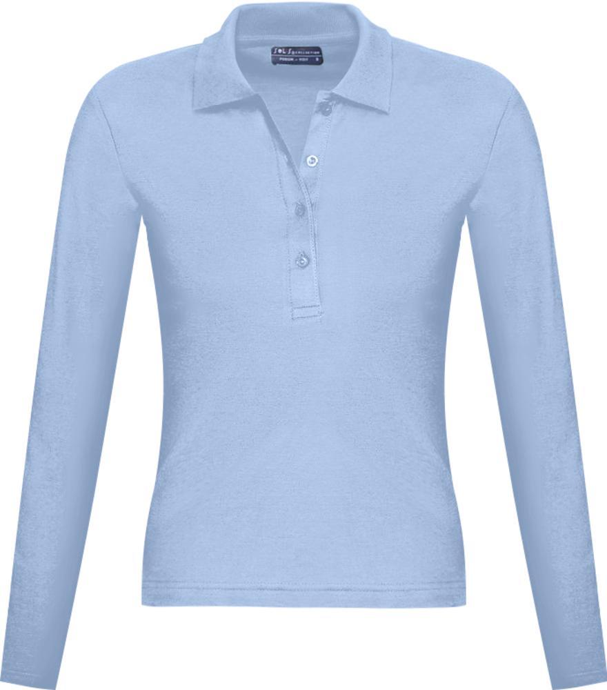 Фото - Рубашка поло женская с длинным рукавом PODIUM 210 голубая, размер L рубашка поло женская с длинным рукавом podium 210 темно зеленая размер m